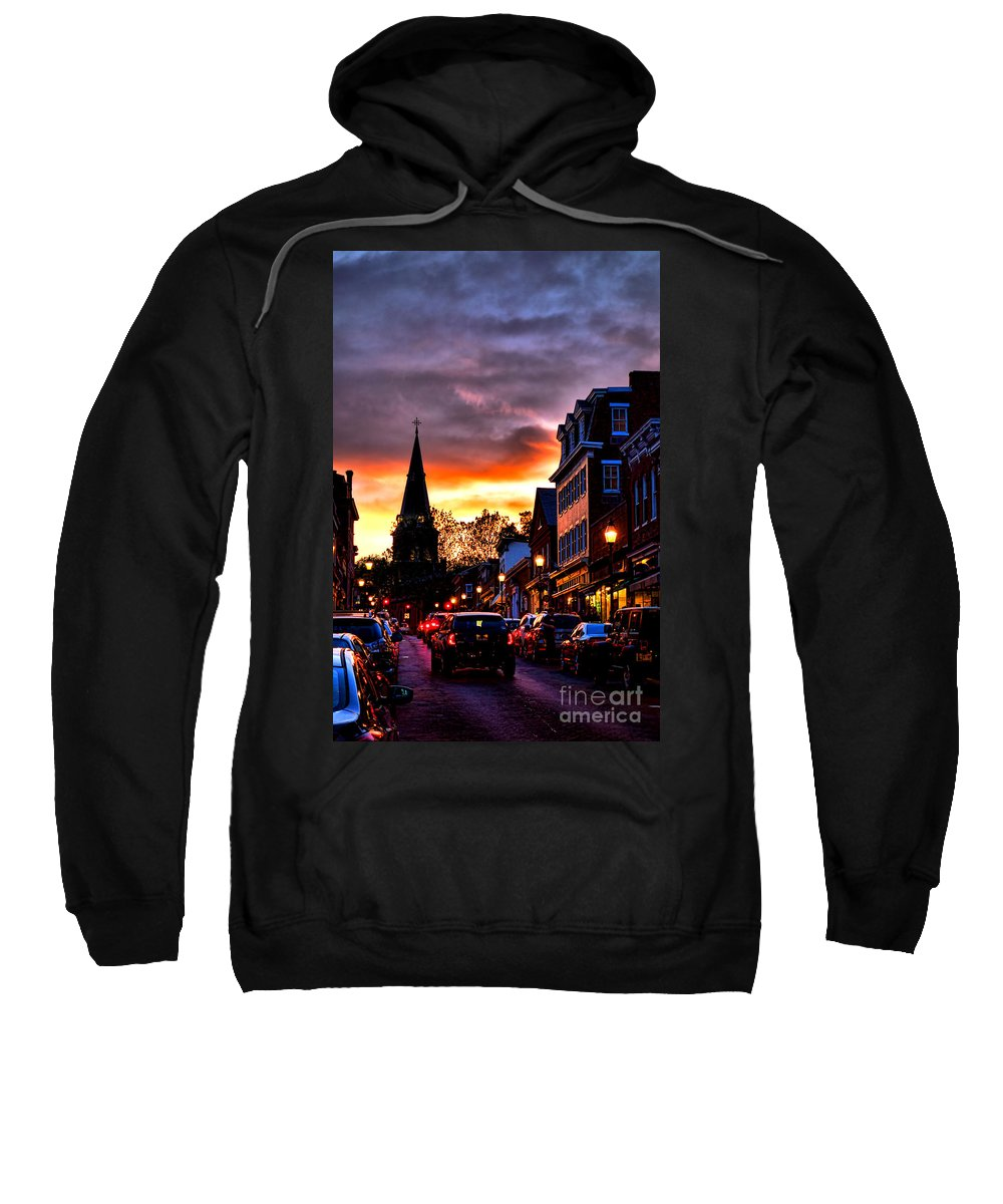 Annapolis Sweatshirt featuring the photograph Annapolis Night by Olivier Le Queinec