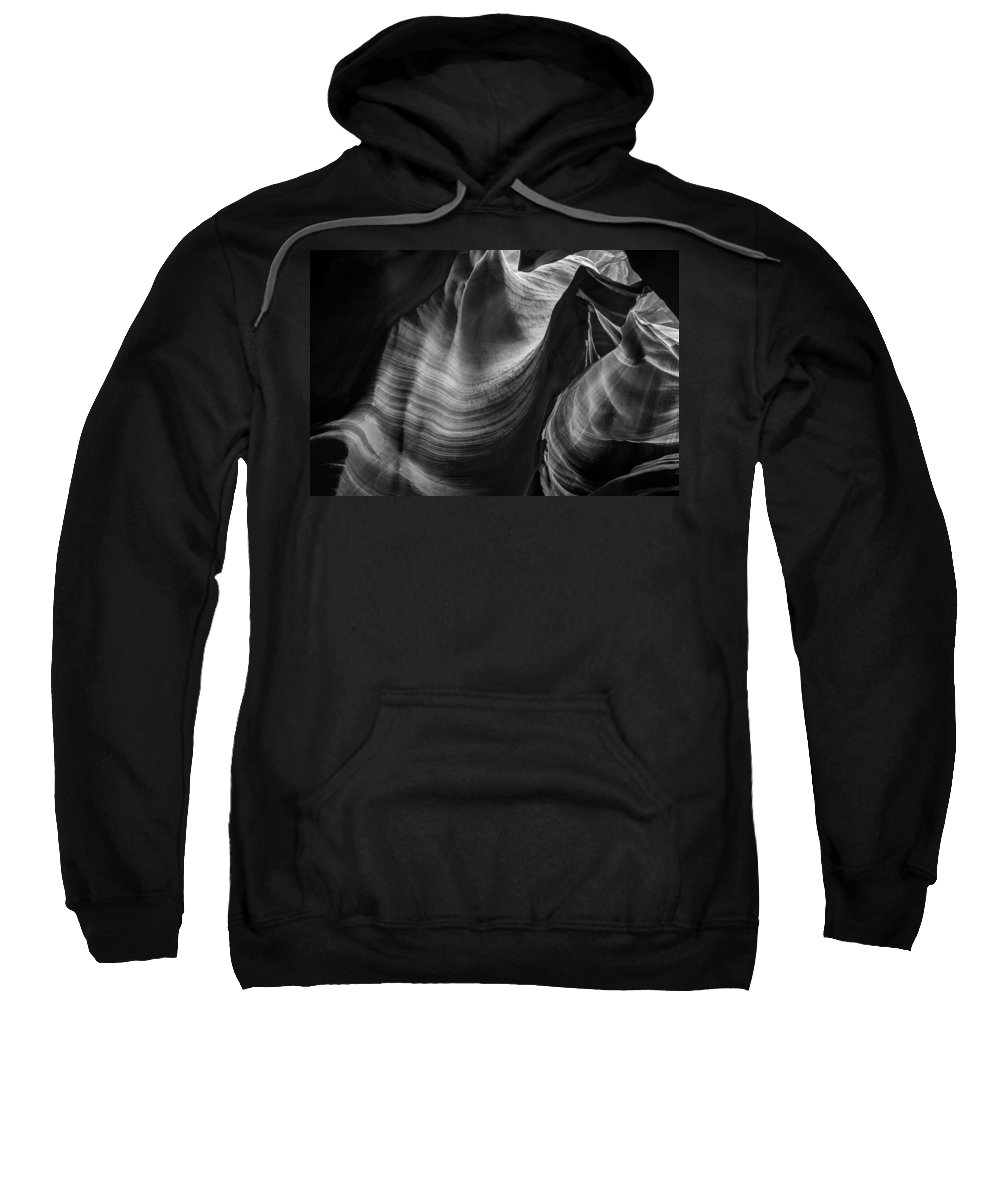 3scape Photos Sweatshirt featuring the photograph Antelope Canyon Waves Black And White by Adam Romanowicz