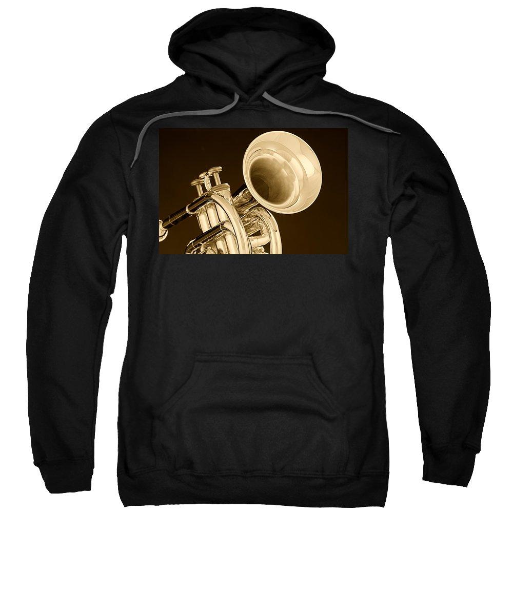Cornet Sweatshirt featuring the photograph Antique Trumpet by M K Miller