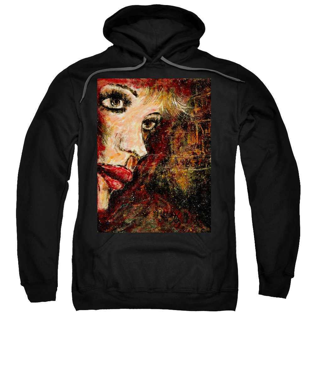 Woman Sweatshirt featuring the painting Anxious Expectations by Natalie Holland
