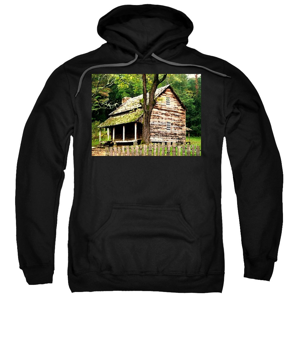 Appalachian Sweatshirt featuring the painting Appalachian Cabin by Desiree Paquette