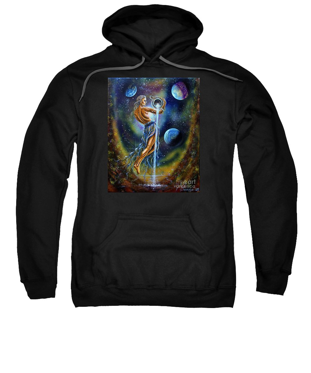 Aquarius Sweatshirt featuring the painting Aquarius by Serge M