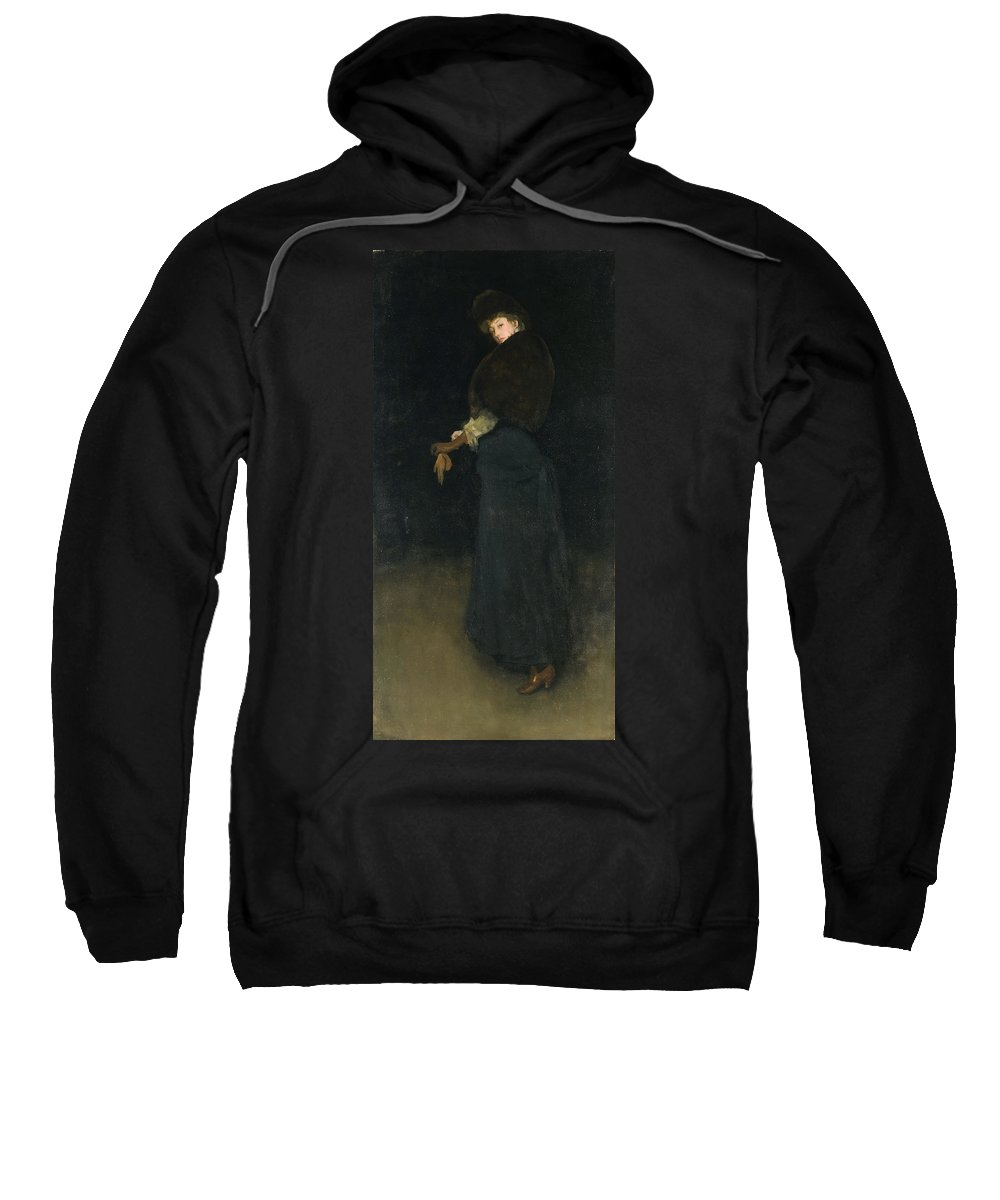 James Abbott Mcneill Whistler Sweatshirt featuring the painting Arrangement In Black. The Lady In The Yellow Buskin by James Abbott McNeill Whistler
