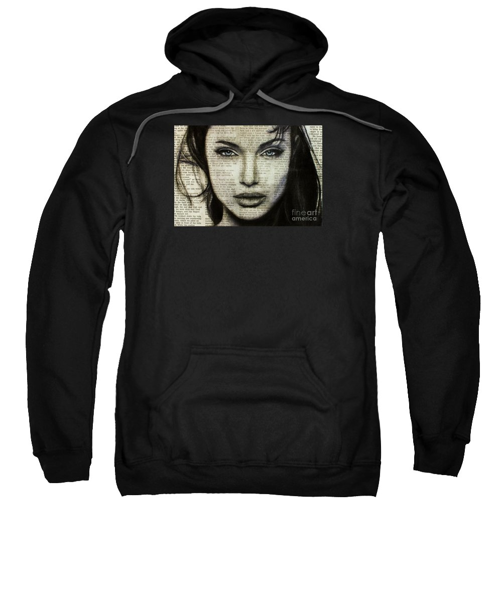 Charcoal Sweatshirt featuring the drawing Art In The News 44- Angelina Jolie by Michael Cross