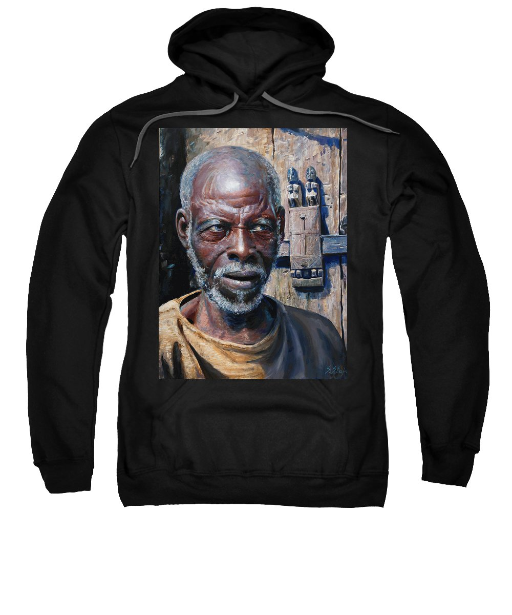 Portrait Sweatshirt featuring the painting Artist by Sefedin Stafa