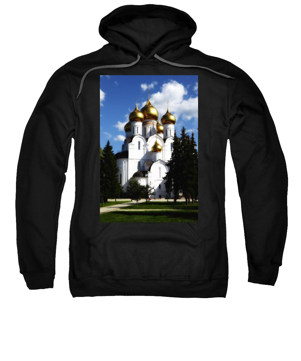 St. Basils Cathedral Sweatshirt featuring the photograph Assumption Cathedral Yaroslavl Russia by Linda Dunn