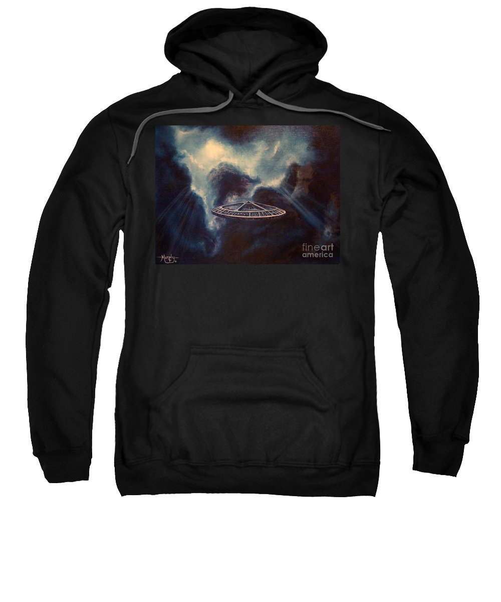 Si-fi Sweatshirt featuring the painting Atmospheric Arrival by Murphy Elliott