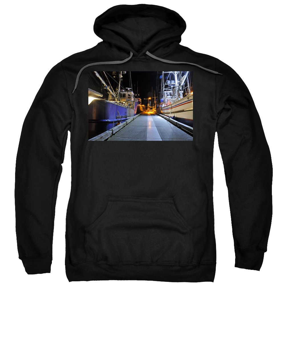 Dock Sweatshirt featuring the photograph Auke Bay By Night by Cathy Mahnke