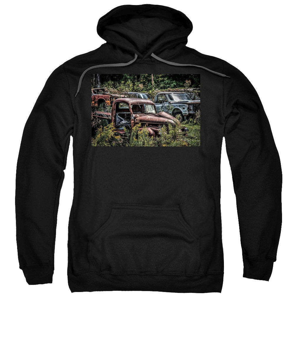 Junk Yard Sweatshirt featuring the photograph Auto Junk Yard by Sharon Meyer