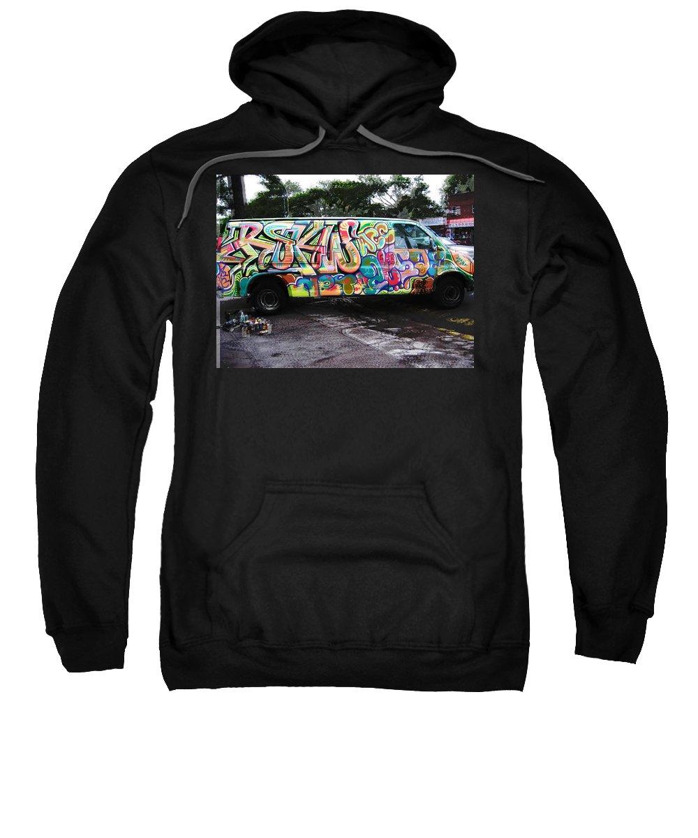 Urban Art Sweatshirt featuring the painting Automotion Van by Miles Wickham