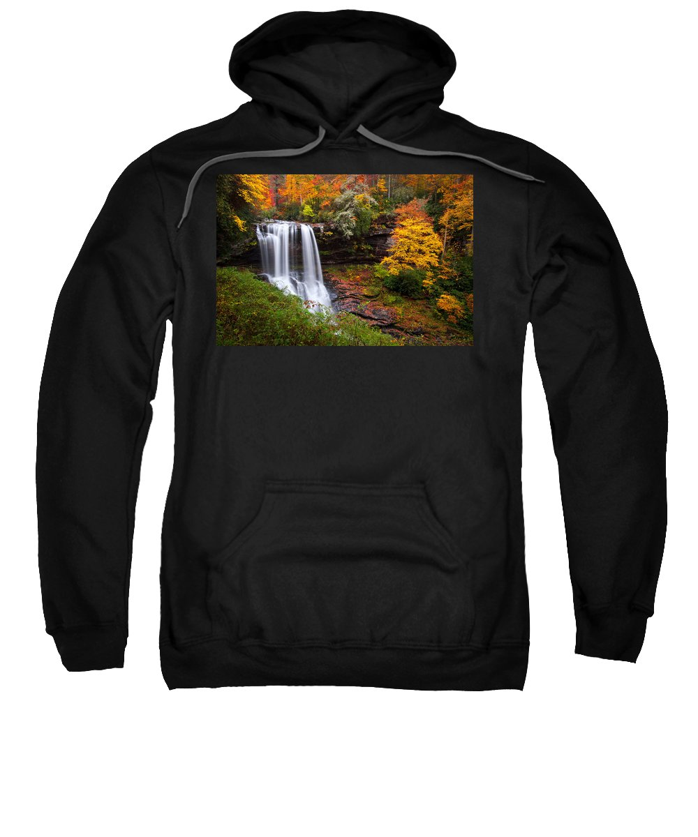 Waterfalls Sweatshirt featuring the photograph Autumn At Dry Falls - Highlands Nc Waterfalls by Dave Allen