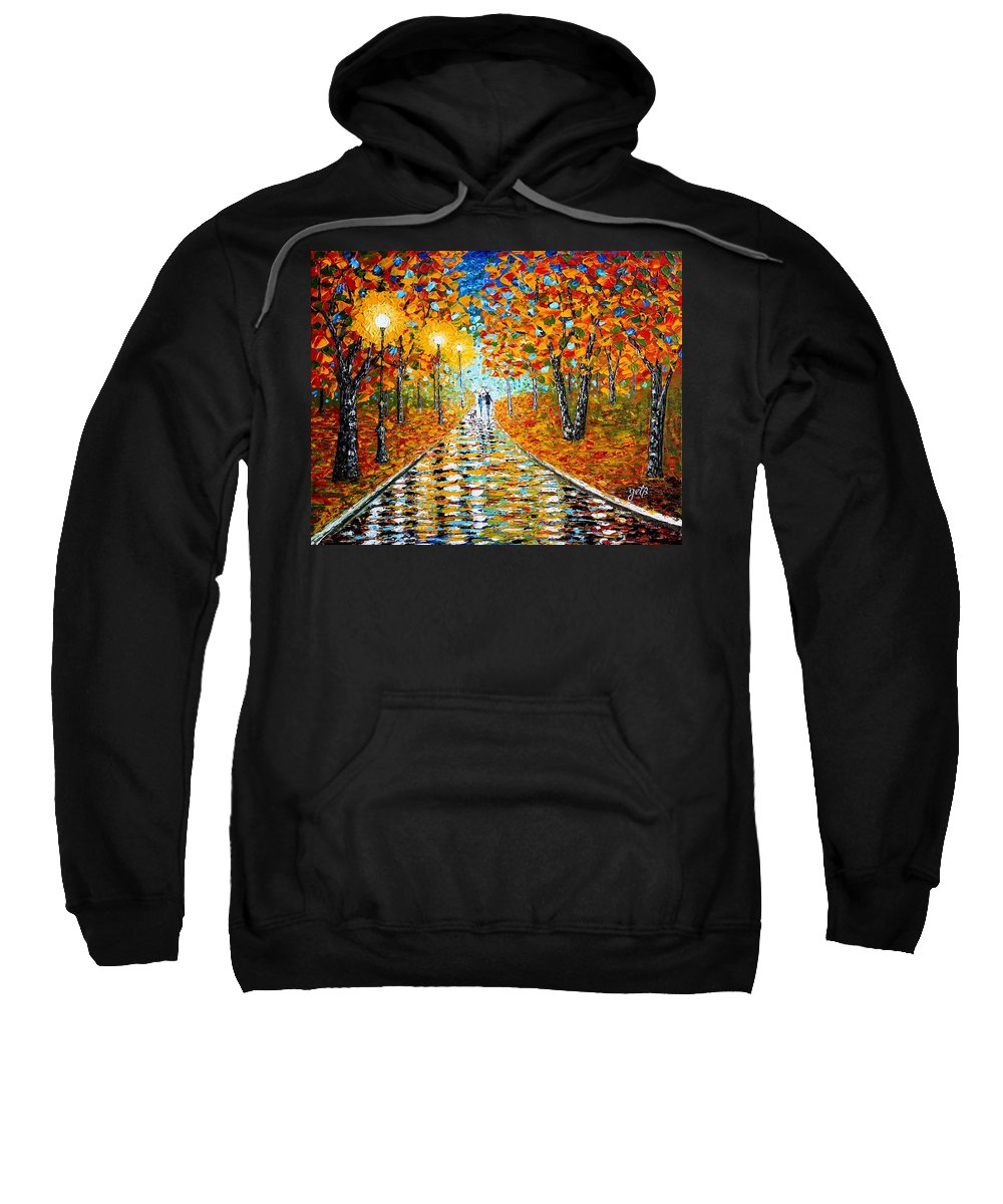 Impressionism Autumn Sweatshirt featuring the painting Autumn Beauty Original Palette Knife Painting by Georgeta Blanaru