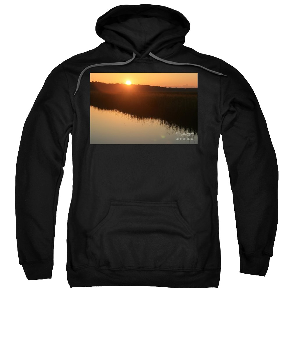 Sunrise Sweatshirt featuring the photograph Autumn Sunrise Over The Marsh by Nadine Rippelmeyer
