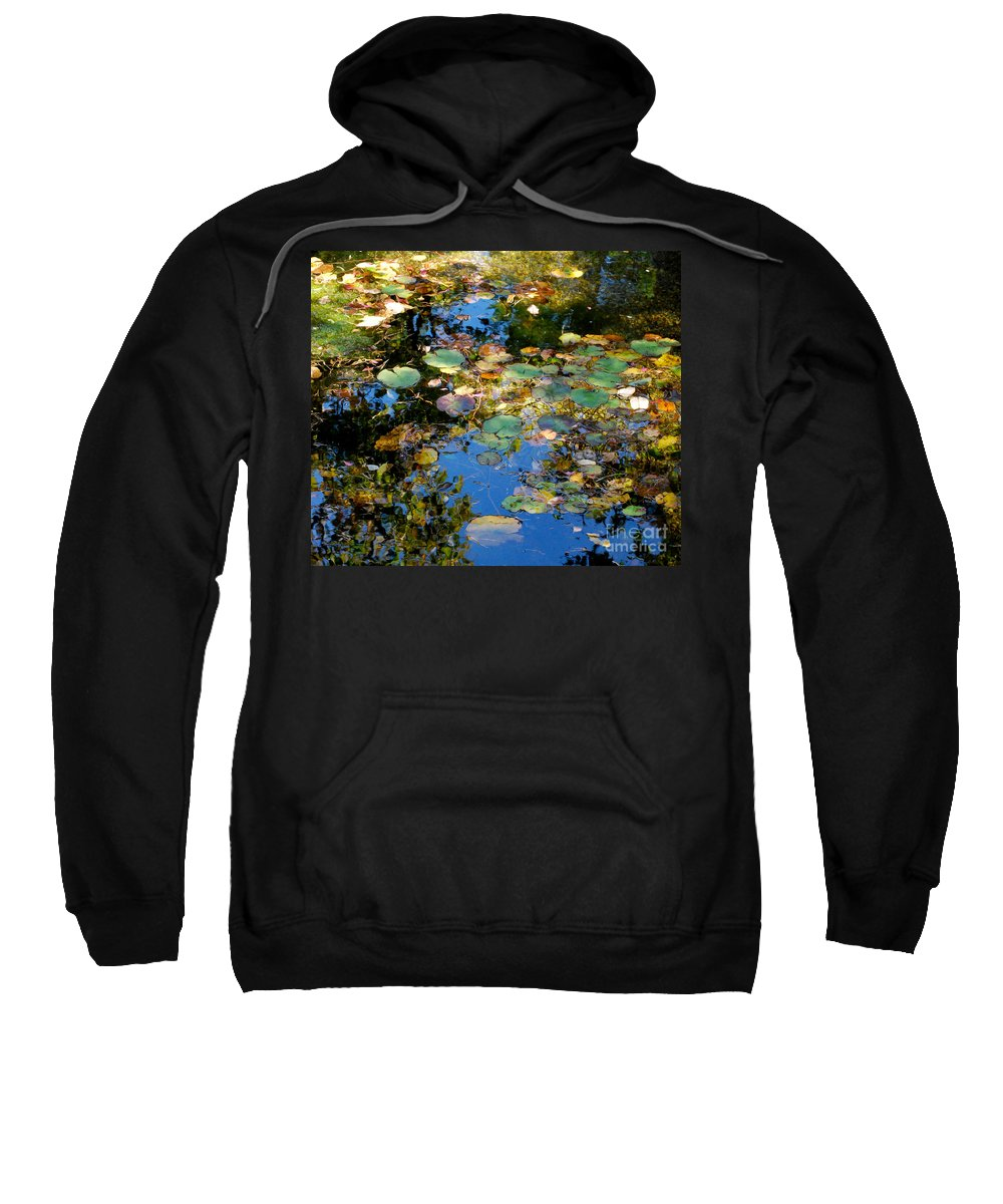 Water Sweatshirt featuring the photograph Autumn Water Lily Reflections by Nancy Mueller