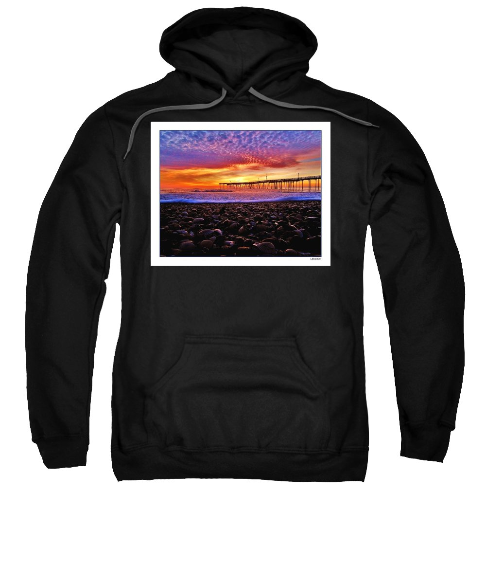 Mark Lemmon Cape Hatteras Nc The Outer Banks Photographer Subjects From Sunrise Sweatshirt featuring the photograph Avon Pier Shells Sunrise by Mark Lemmon