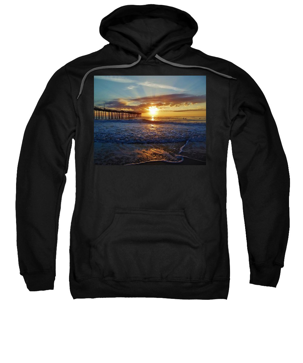 Mark Lemmon Cape Hatteras Nc The Outer Banks Photographer Subjects From Sunrise Sweatshirt featuring the photograph Avon Pier Surfers Paradise 9/08 by Mark Lemmon