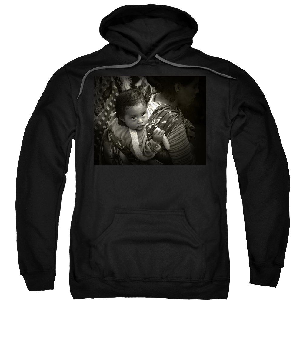 Child Sweatshirt featuring the photograph Baby With A Banana by Tom Bell