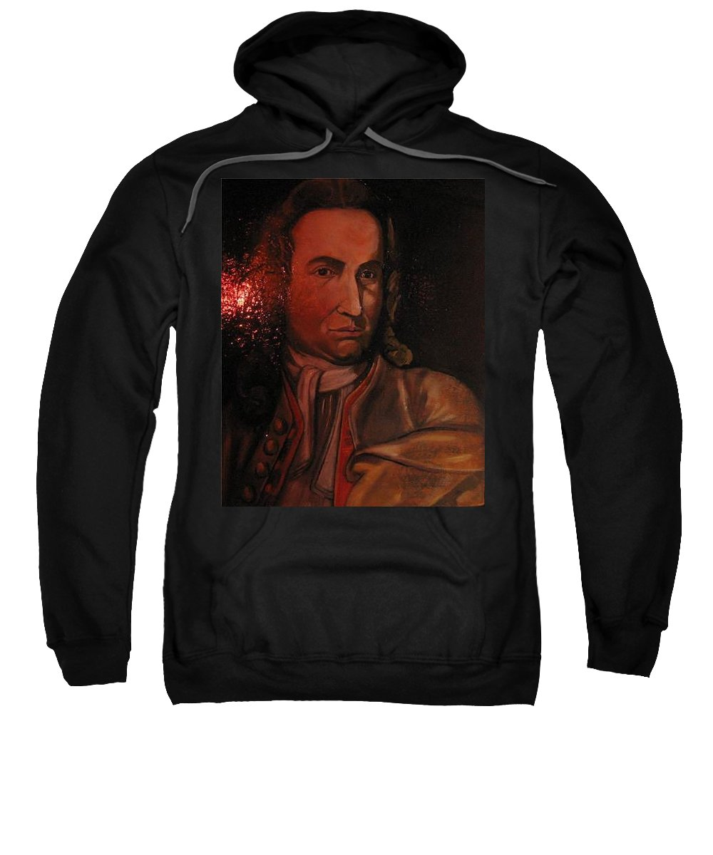 Sweatshirt featuring the painting Bach Portrait After Heavy Varnish by Jude Darrien