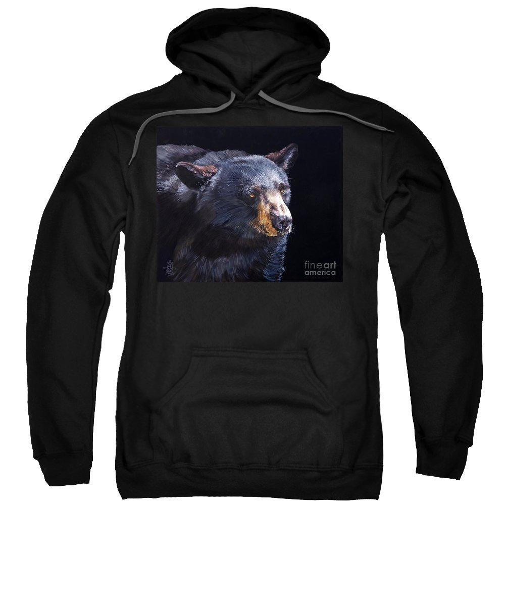 Black Bear Sweatshirt featuring the painting Back in Black Bear by J W Baker