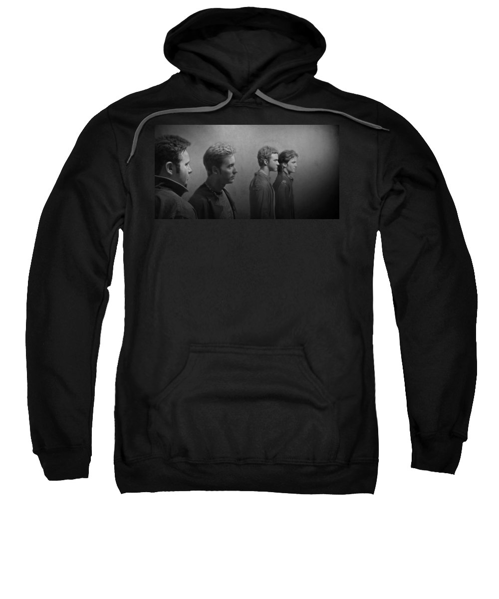 Nsync Sweatshirt featuring the photograph Back Stage With Nsync Bw by David Dehner