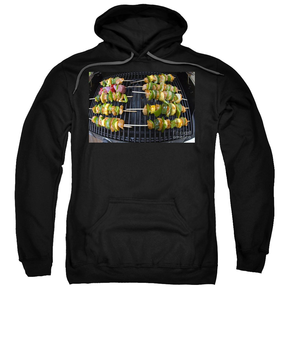 Bbq Sweatshirt featuring the photograph Barbeque Kabobs On Grill by Jason O Watson