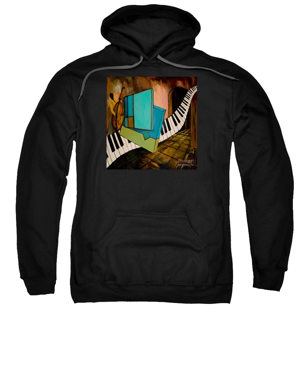 Jazz Sweatshirt featuring the painting Bass Solo by Larry Martin