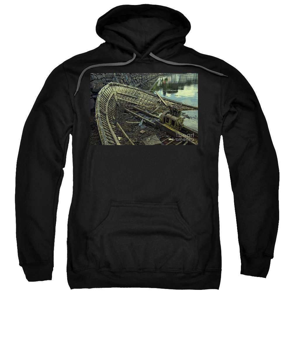 Boat Sweatshirt featuring the photograph Battered Boat by Rob Hawkins