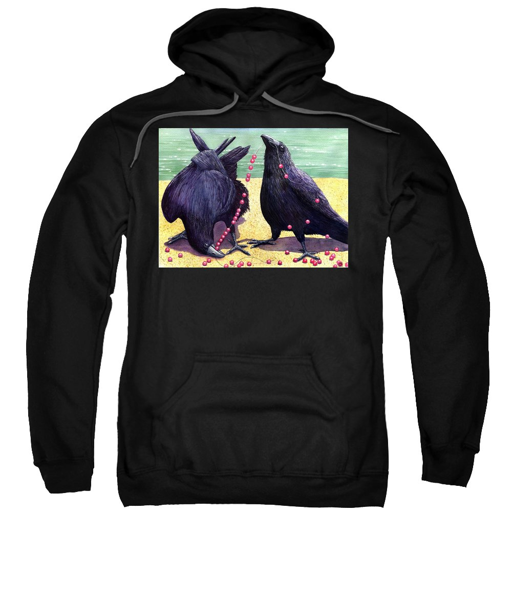 Raven Sweatshirt featuring the painting Baubles by Catherine G McElroy