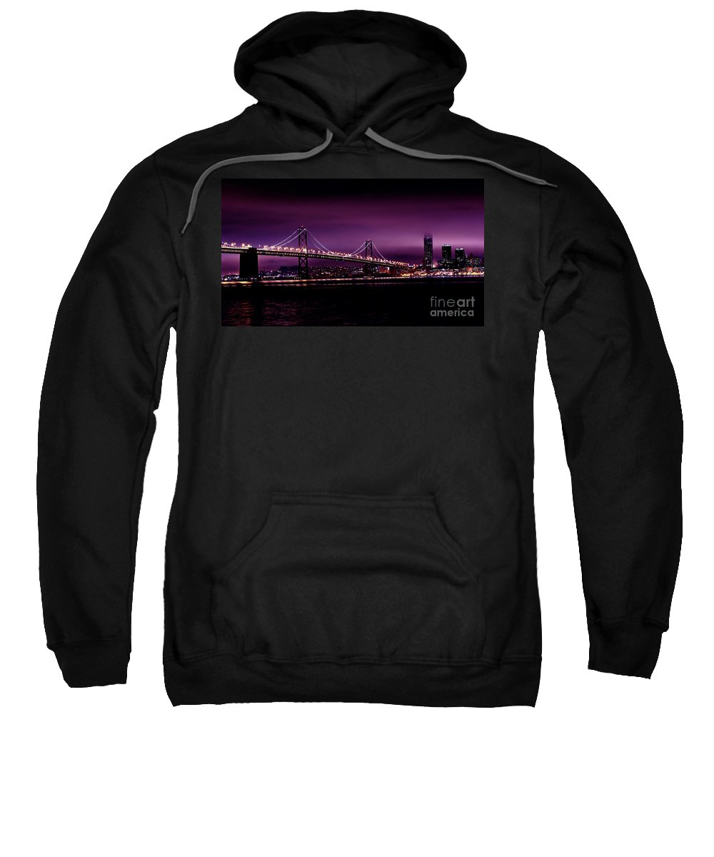 Urban Landscapes Sweatshirt featuring the photograph Bay Bridge Purple Haze by Digital Kulprits