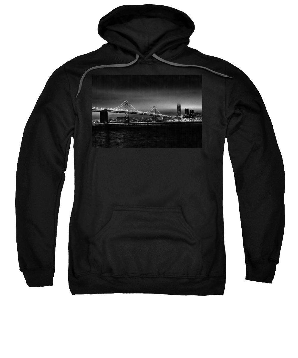 City By The Bay Sweatshirt featuring the photograph Bay Bridge Blackout by Digital Kulprits