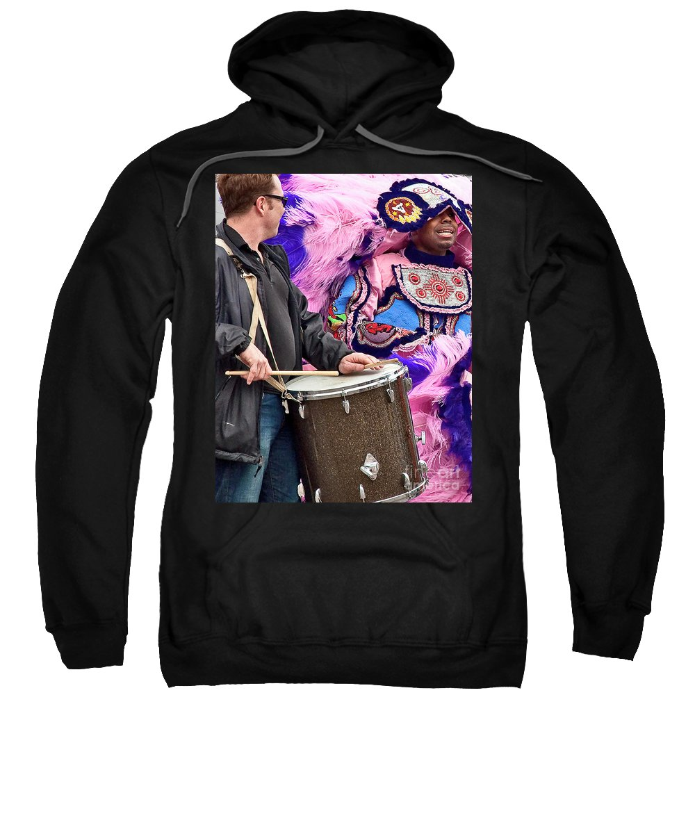 Mardi Sweatshirt featuring the photograph Beads And Feathers At Mardi Gras by Kathleen K Parker