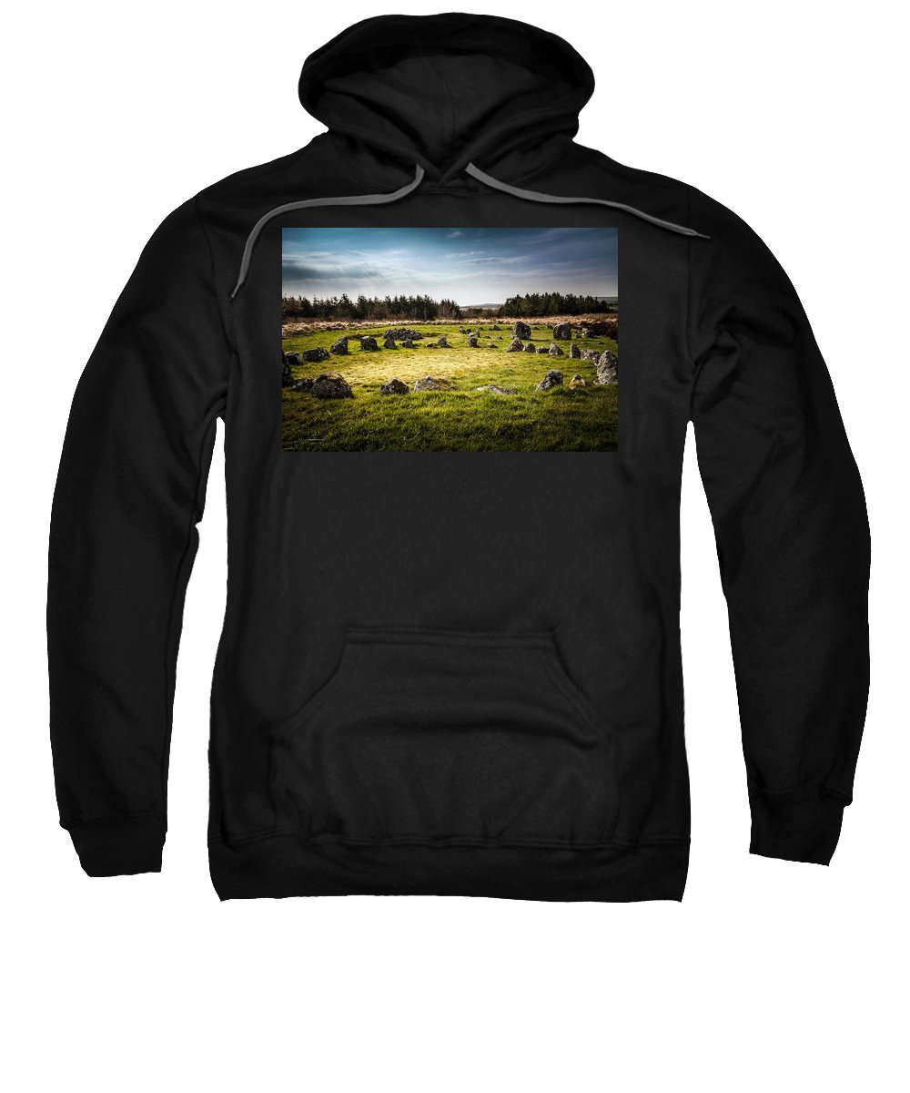 Celtic Sweatshirt featuring the photograph Beaghmore Stone Circles by George Pennock