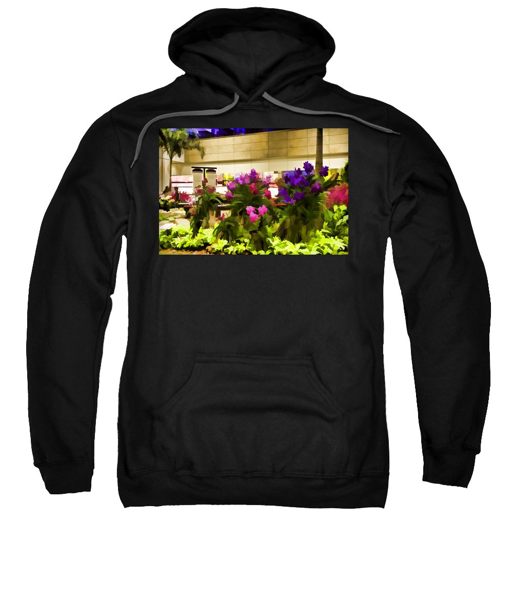 Airport Sweatshirt featuring the photograph Beautiful Flowers Inside The Changi Airport by Ashish Agarwal