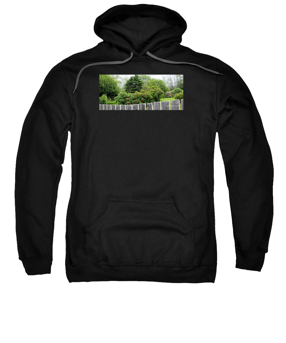 Beautiful Front Yard Sweatshirt featuring the photograph Beautiful Front Yard - Roses - Trees by Barbara Griffin