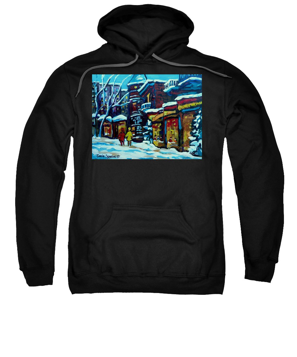 Beautiful Winter Evening Sweatshirt featuring the painting Beautiful Winter Evening by Carole Spandau