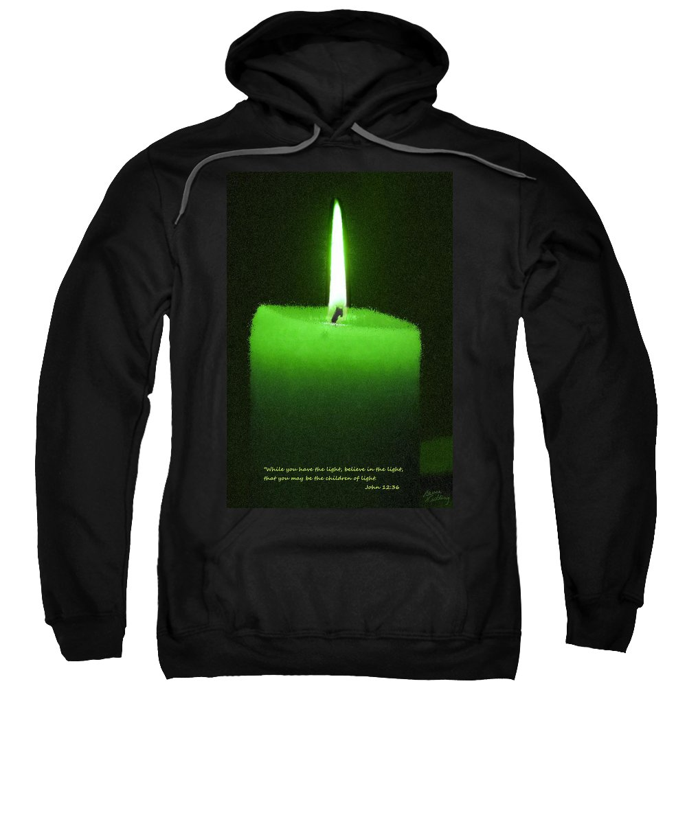 Green Sweatshirt featuring the painting Believe In The Light by Bruce Nutting