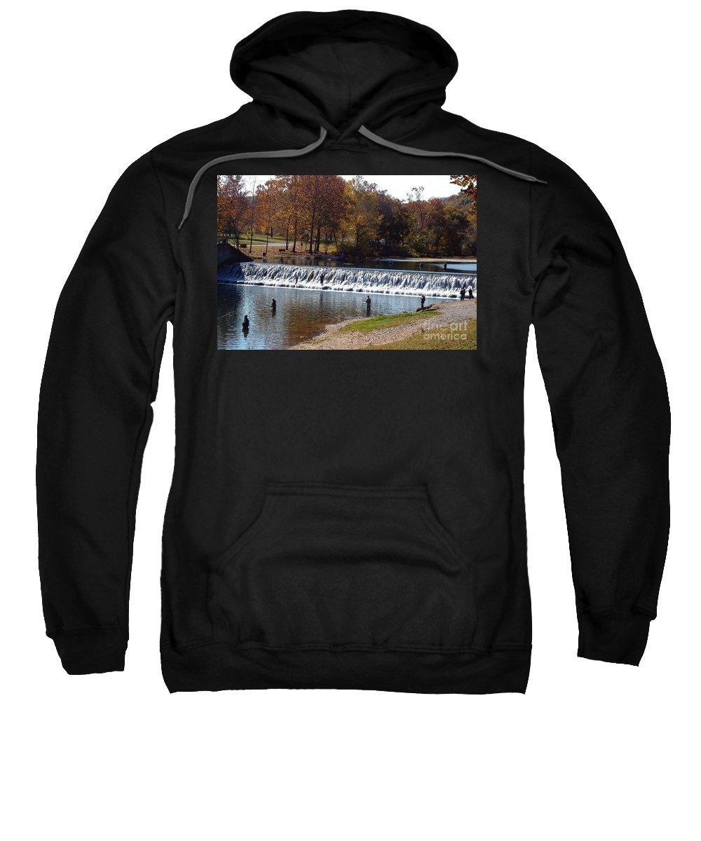 Bennett Springs Sweatshirt featuring the photograph Bennett Springs Spillway by Sara Raber