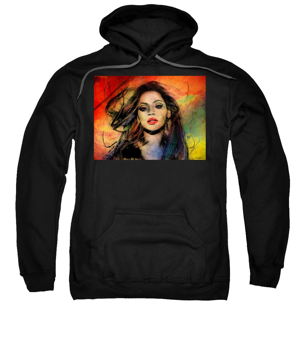 Beyonce Sweatshirt featuring the painting Beyonce by Mark Ashkenazi