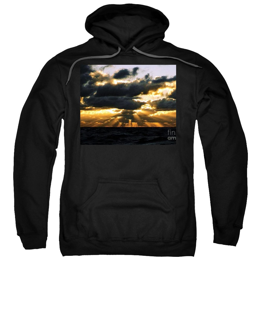 Sunset Sweatshirt featuring the photograph Crepuscular Biblical Rays At Dusk In The Gulf Of Mexico by Michael Hoard