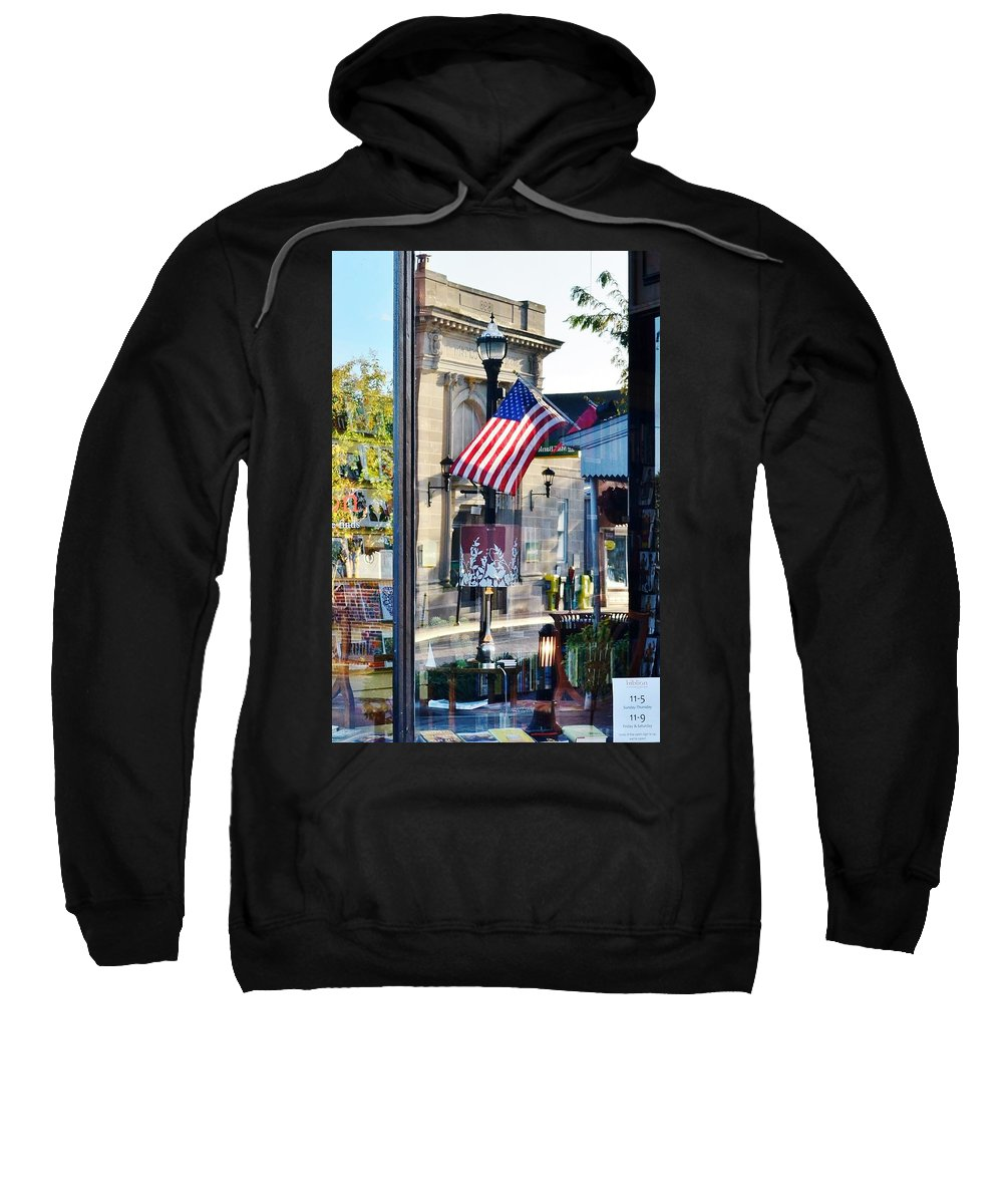 Biblion Sweatshirt featuring the photograph Biblion Used Books Reflections 2 - Lewes Delaware by Kim Bemis
