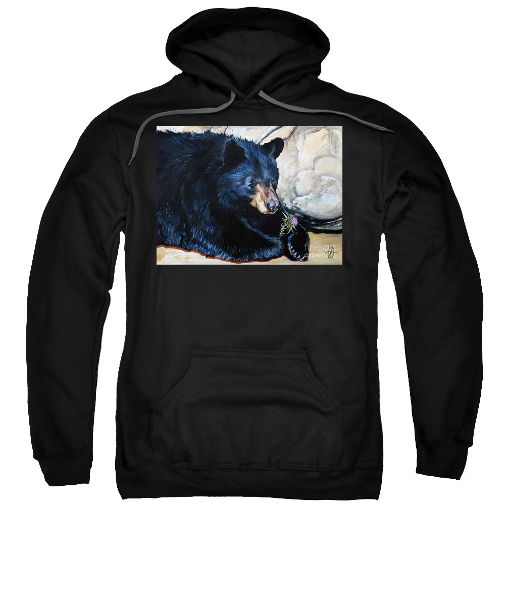 Bear Sweatshirt featuring the painting Big B and little bee by J W Baker