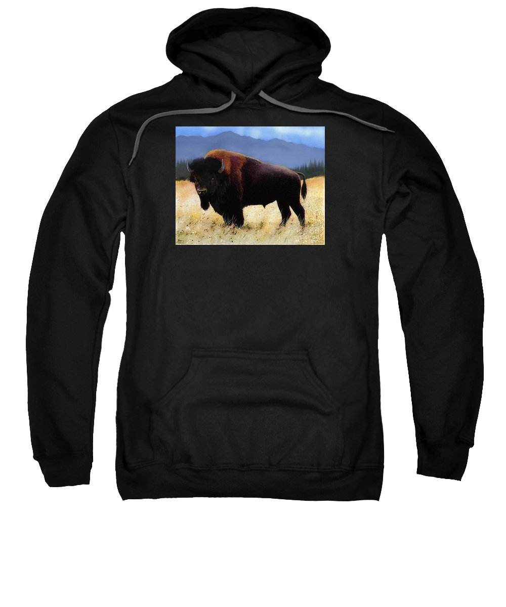 Buffalo Sweatshirt featuring the painting Big Bison by Robert Foster