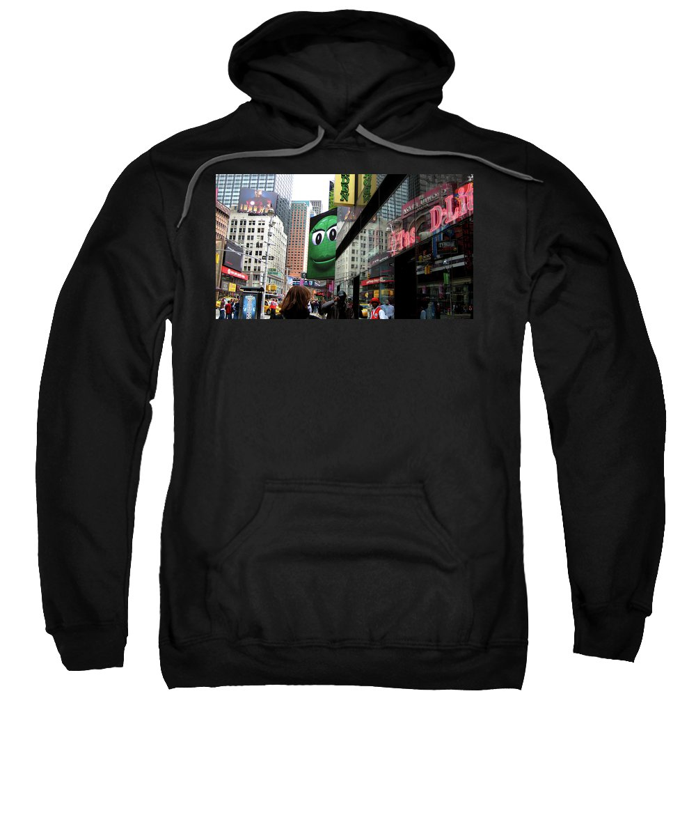 Times Square Sweatshirt featuring the photograph Big Green M And M by Lorraine Devon Wilke