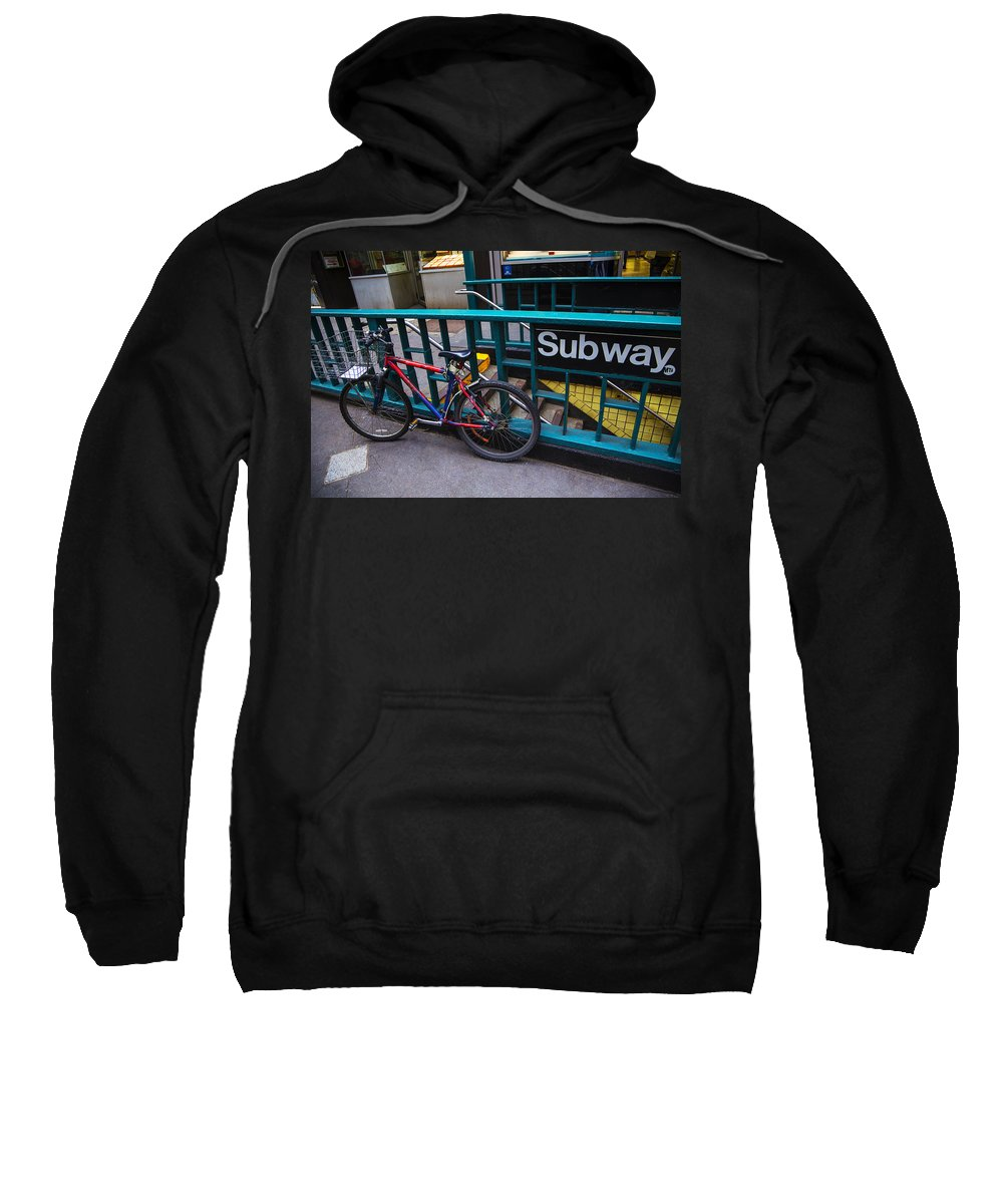 Bike Sweatshirt featuring the photograph Bike At Subway Entrance by Garry Gay