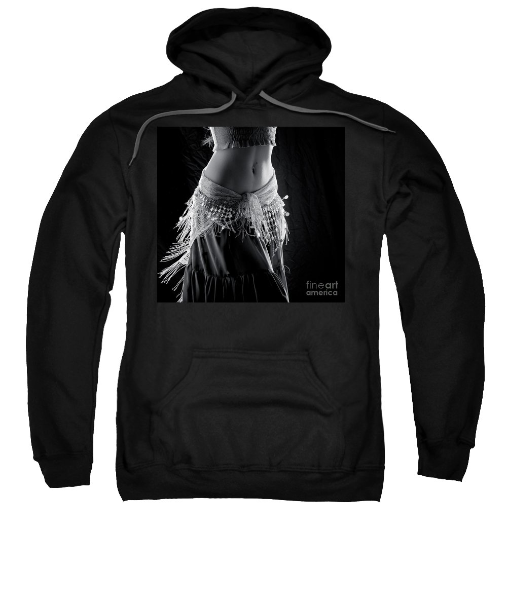 Dance Sweatshirt featuring the photograph Black And White Belly Dancer by Scott Sawyer
