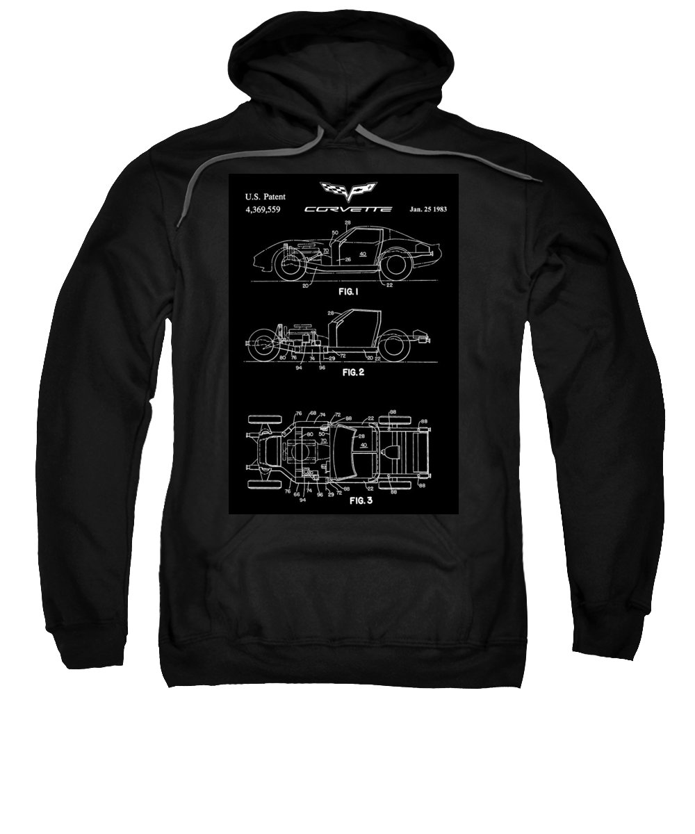 Corvette Patent Sweatshirt featuring the digital art Black And White Corvette Patent by Dan Sproul