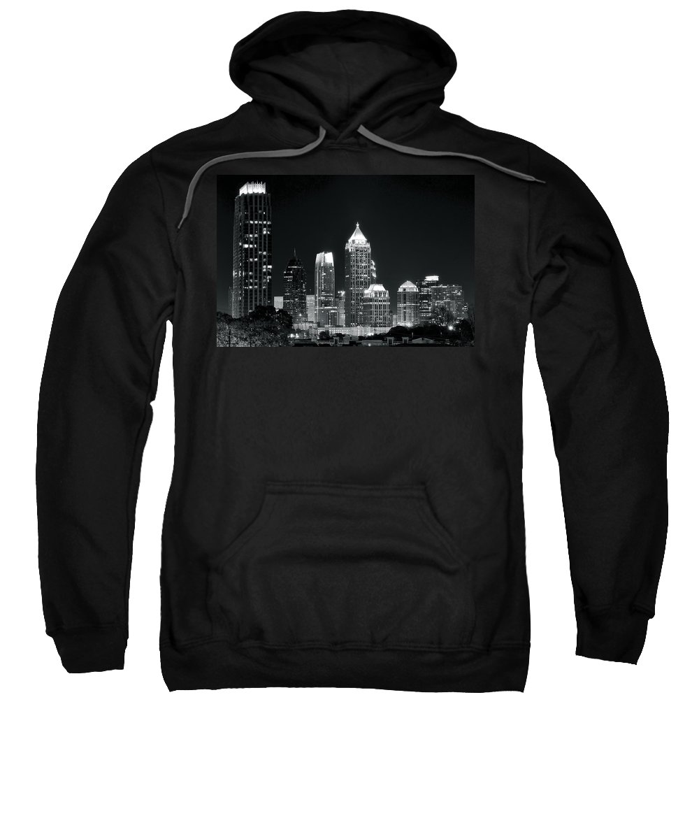 Atlanta Sweatshirt featuring the photograph Black And White Night In Atlanta by Frozen in Time Fine Art Photography