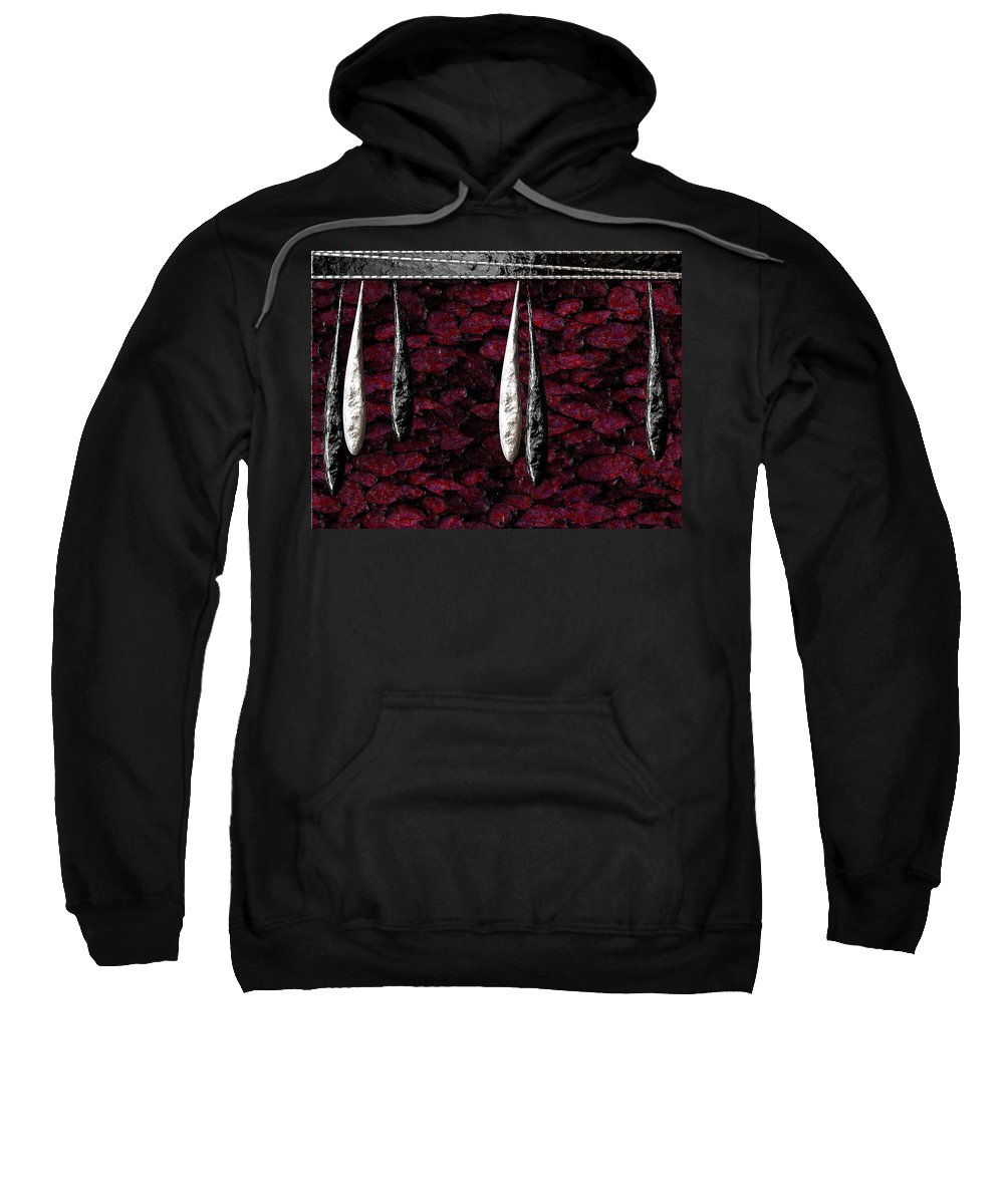Black Sweatshirt featuring the digital art Black And White Tears Falling Into Blood Red Lotus by Michael Hurwitz