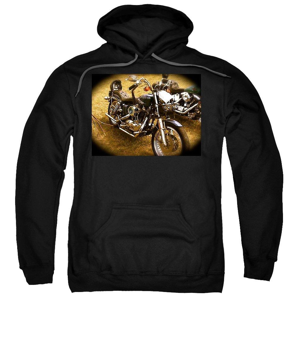 Black Motorcycle Sweatshirt featuring the photograph Black Motorcycle by Chris W Photography AKA Christian Wilson
