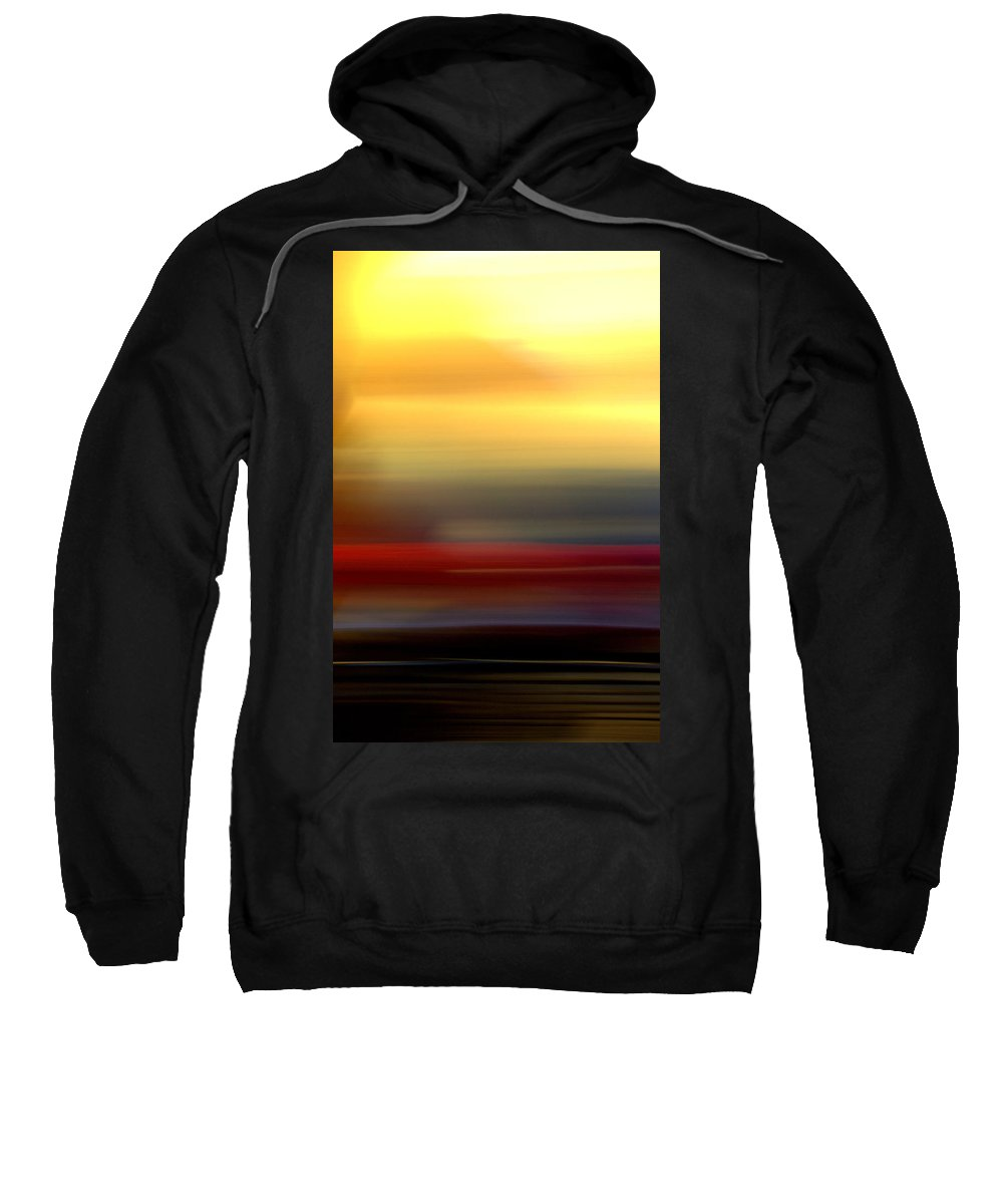 Sweatshirt featuring the mixed media Black Red Yellow by Terence Morrissey
